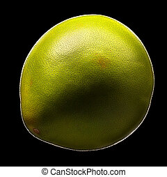 zitrusgewächs, freigestellt, pomelo, fruechte, grün, schwarz