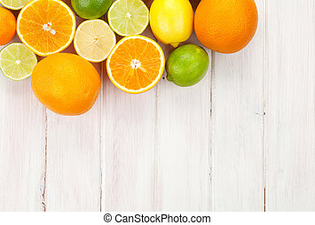 zitrusgewächs, fruits., orangen, limonen, und, zitronen