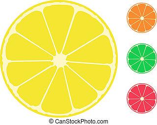 zitrusgewächs, zitrone, fruit., orange, pampelmuse, limette
