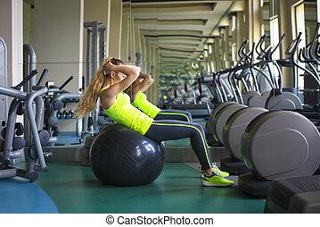 zitten-UPS, Bal, passen,  Gym, jonge, vrouw, Oefening