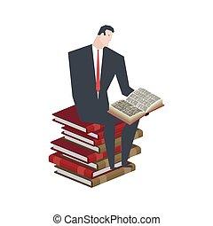 zittende , books., illustratie, baas, vector, book., zakenman, lezende , stapel