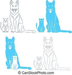 zittende , dog, kat