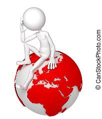zittende , globe, pose, nadenkend, aarde, man, 3d