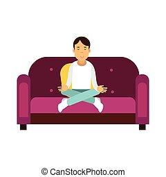 zittende , lotus, sofa, pose, het peinzen, jonge, illustratie, vector, man