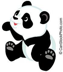 zittende , panda, spotprent
