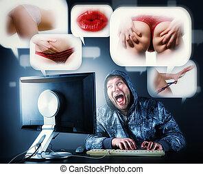 zittende , scherm, het kijken, computer, bureau, man
