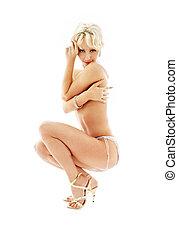 zittende , topless, vastspeldt-op, blonde , in, blauwe , slipjes
