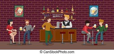 zittende , visitor., toonbank, wall., mensen, krukken, bruine , barman, interieur, illustratie, gebouw, alcohol, baksteen, hebben, drinkt, kamer, bar, beer., vector, stort, hoog, plezier