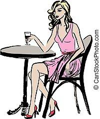 zittende , vrouw, in, koffiehuis