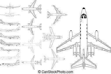 zivil, motorflugzeug, satz
