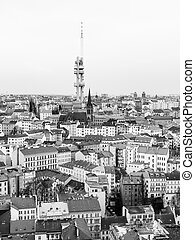 Zizkov town part and television tower, Prague, Czech...