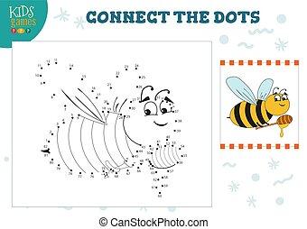 zjednajcie wielokropek, dzieciska gra, wektor, illustration., preschool, dzieci, wykształcenie, działalność