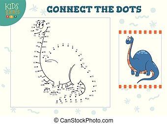 zjednajcie wielokropek, dzieciska gra, wektor, illustration., preschool, dzieci, wykształcenie