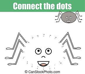 zjednajcie wielokropek, przez, takty muzyczne, dzieci, oświatowy, game., printable, worksheet, activity., zwierzęta, temat, pająk