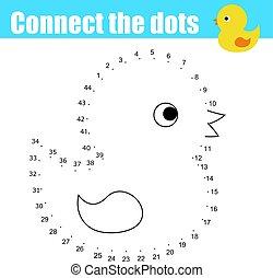 zjednajcie wielokropek, przez, takty muzyczne, dzieci, oświatowy, game., printable, worksheet, activity., zwierzęta, temat, niemowlę, wanna, kaczka, zabawka