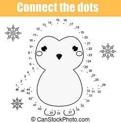 zjednajcie wielokropek, przez, takty muzyczne, dzieci, oświatowy, game., printable, worksheet, activity., zwierzęta, temat, pingwin