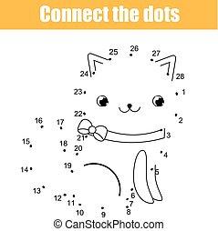 zjednajcie wielokropek, przez, takty muzyczne, dzieci, oświatowy, game., printable, worksheet, activity., zwierzęta, temat, kot