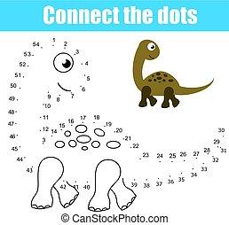 zjednajcie wielokropek, przez, takty muzyczne, dzieci, oświatowy, game., printable, worksheet, activity., zwierzęta, temat, dinozaur