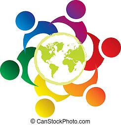 zjednoczenie, świat, wektor, teamwork, ludzie