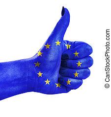 zjednoczenie, do góry, kciuk, europejczyk