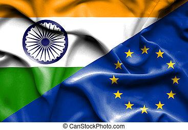 zjednoczenie, falując banderę, indie, europejczyk