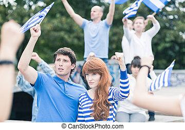zjednoczenie, grek, protestując, przeciw, europejczyk