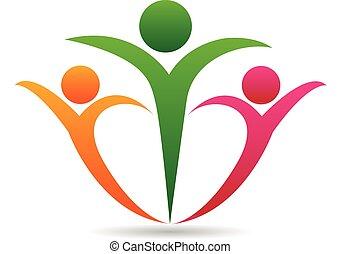 zjednoczenie, logo, pojęcie, rodzina, szczęśliwy