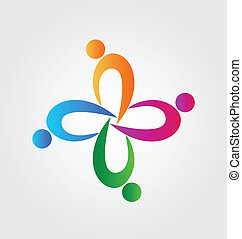 zjednoczenie, logo, teamwork, ludzie