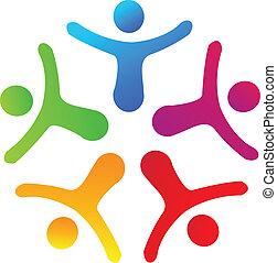 zjednoczenie, ludzie, logo, wektor