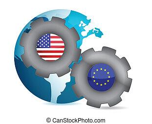 zjednoczenie, na, pracujący, europejczyk