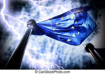 zjednoczenie, niebo, burza, ciemny, bandera, tło, europejczyk
