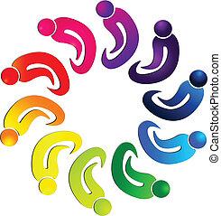 zjednoczenie, teamwork, ludzie, grupa, logo