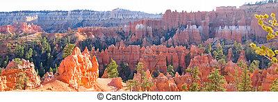 zjednoczony, bryce, panorama, szpice, park, las, stany, biały, krajowy, czerwony