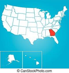 zjednoczony, -, ilustracja, stany, stan, georginia, ameryka