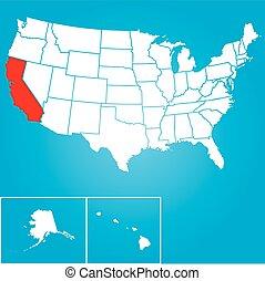zjednoczony, -, ilustracja, stany, stan, kalifornia, ameryka