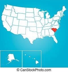 zjednoczony, -, ilustracja, stany, stan, kolęda, ameryka, południe