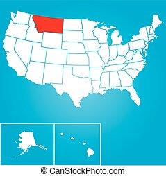 zjednoczony, -, ilustracja, stany, stan, montana, ameryka