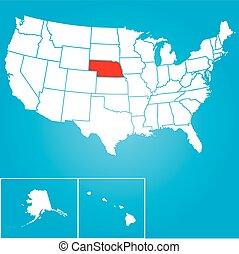 zjednoczony, -, ilustracja, stany, stan, nebraska, ameryka