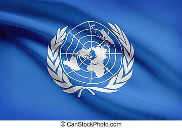 zjednoczony, marszczył, seria, un., flags., nations.