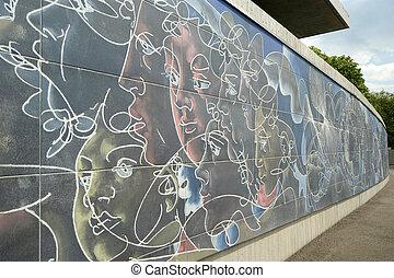 zjednoczony, płot, genewa, konkretny, graffiti, szwajcaria, ...