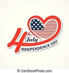 zjednoczony, powitanie, stany, 4 lipca, dzień, niezależność, szczęśliwy