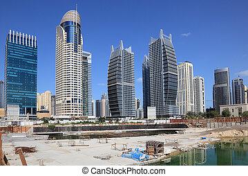 zjednoczony, wieże, jezioro, jumeirah, arab, zbudowanie, emiraty, umiejscawiać, dubai