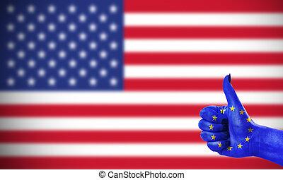 zjednoczony, zjednoczenie, dodatni, stany, stosunek, europejczyk