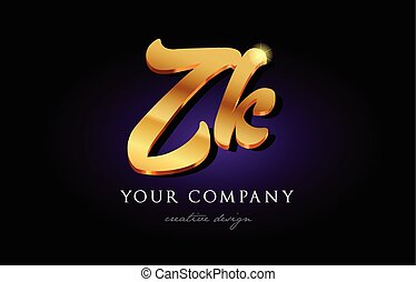 zk z k 3d gold golden alphabet letter metal logo icon design handwritten typography
