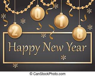 zlatý, čerň, 2018, rok, čerstvý, šťastný