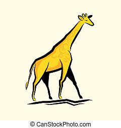 zlatý, žirafa, vektor