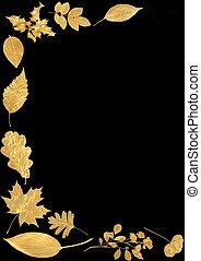 zlatý, abstraktní, list, hraničit