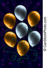 zlatý, balloon, stříbrný, grafické pozadí