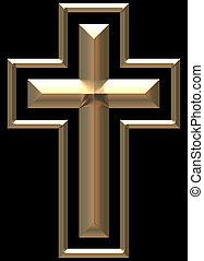zlatý, chromed, kříž, ilustrace