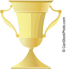 zlatý, cup., vektor